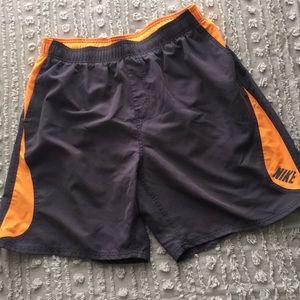 Like new men's Nike gray /orange swim trunks Sz XL